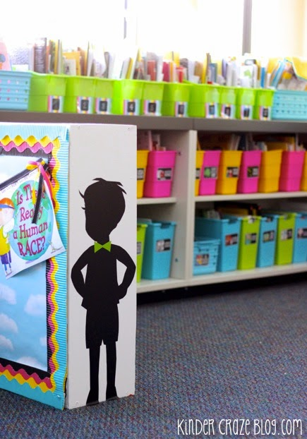 I adore this brightly organized classroom library
