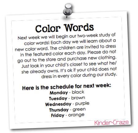 fun ideas for teaching color words in kindergarten
