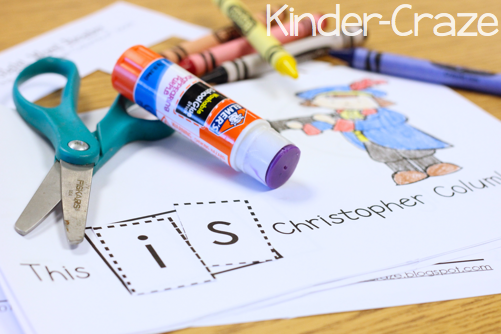 kindergarten emergent reader with sight word practice for Columbus Day