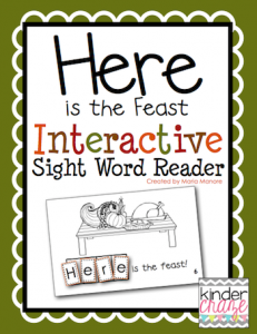 "Thanksgiving themed emergent reader for sight word ""here"""
