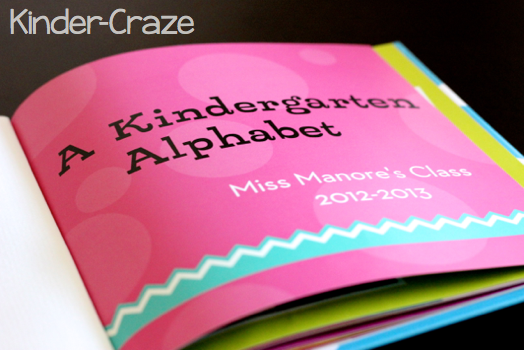Title page in kindergarten alphabet book from Shutterfly.com