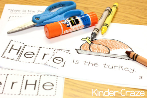 """Thanksgiving emergent reader for sight word """"here"""""""