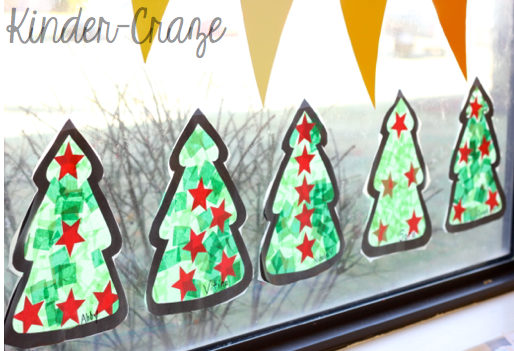 Tissue Paper Christmas Tree Window Decorations