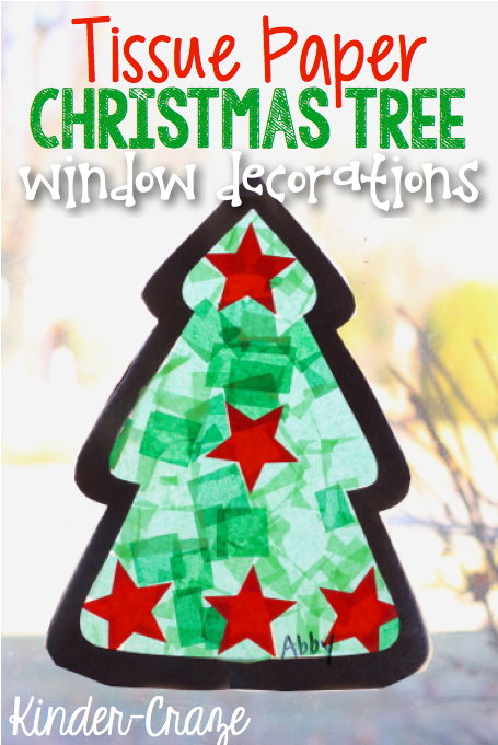 tissue paper christmas tree craft window decorations - Paper Christmas Tree Decorations