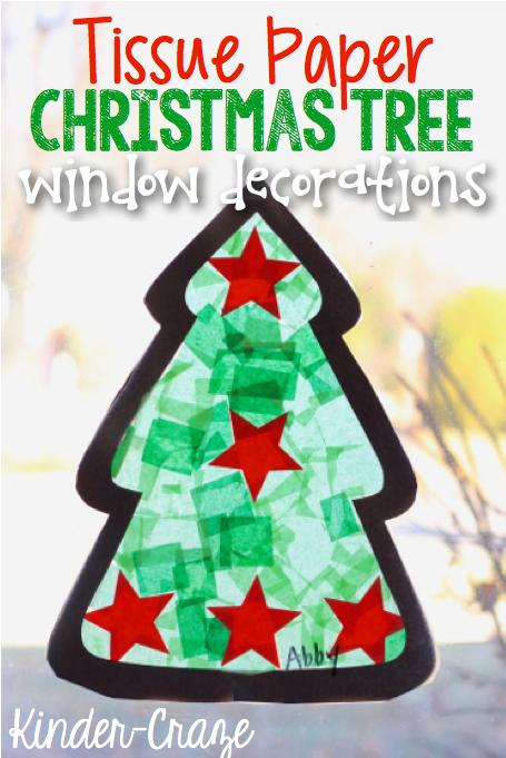 tissue paper christmas tree craft window decorations