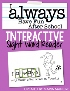 "emergent reader for sight word ""ALWAYS"""