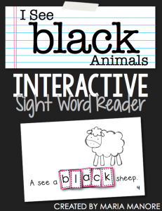 "emergent reader for sight word ""BLACK"""