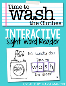 "emergent reader for sight word ""WASH"""