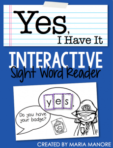 "emergent reader for sight word ""YES"""