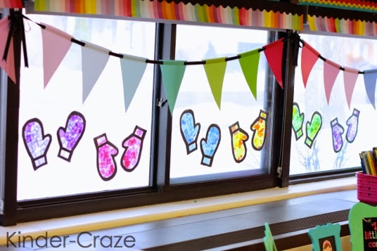 Stained glass mitten window decor tutorial for Art and craft for classroom decoration