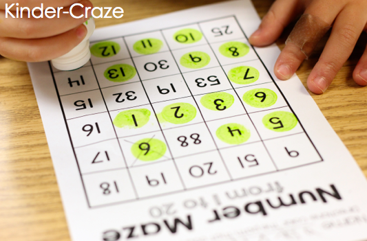 number mazes to help students recognize numbers in sequence