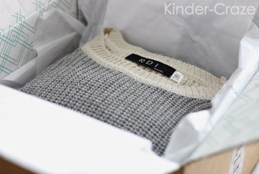 gray sweater in Stitch Fix box