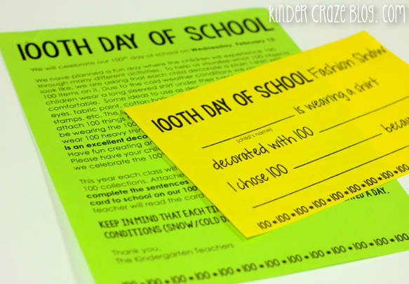 FREE parent letter for the 100th day of school