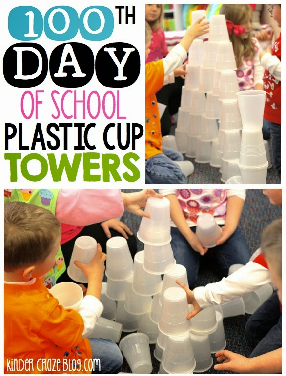 build a tower with 100 cups on the 10th day… this blog post had TONS of great ideas for the 100th day of school