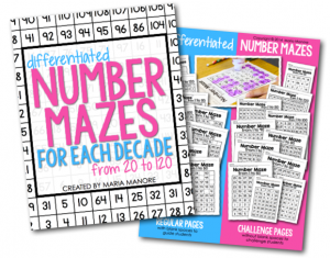 Differentiated Number Maze pages
