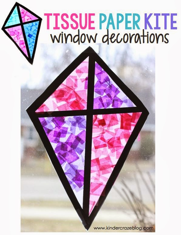 "kite ""stained glass"" window craft made with tissue paper and clear contact paper"