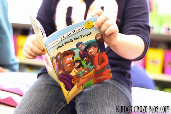 """""""I Can Read"""" books about Jesus in a kindergarten classroom"""