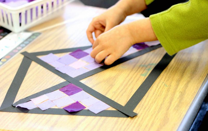 Classroom Decor Projects ~ Stained glass kite decorations made from tissue paper