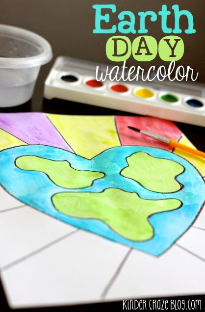 EASY step by step directions to create an Earth Day watercolor painting
