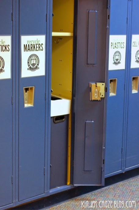 use lockers to store and organize your school recycle center - GENIUS!