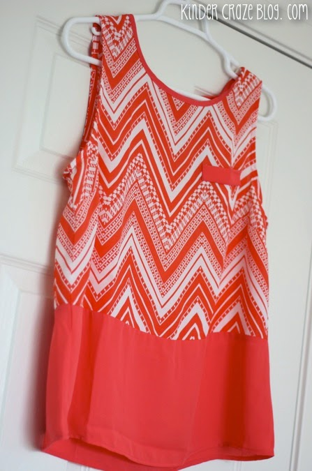 love this orange chevron color block tank from Stitch Fix