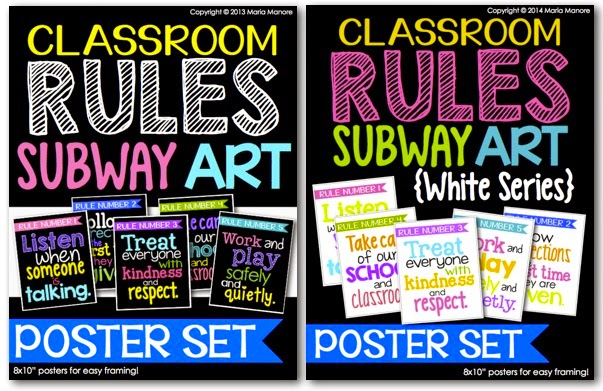 Classroom Rules Subway Art, available with a black or white background