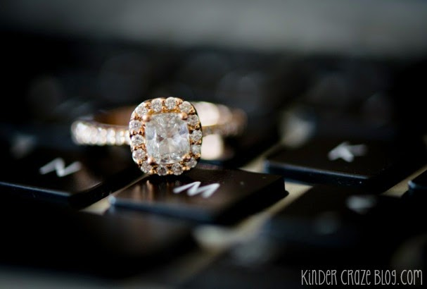gorgeous rose gold engagement ring and MacBook keyboard