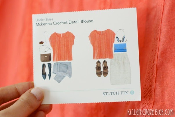 coral crochet detail blouse from Stitch Fix
