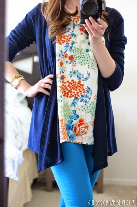 navy cardigan and floral print blouse from Stitch Fix