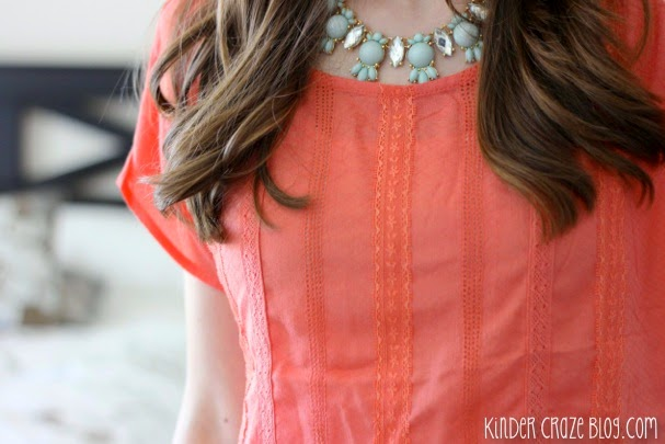 pretty coral crochet detail blouse from Stitch Fix
