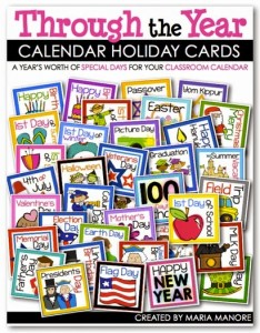 A year's worth of holidays and special occasions to display on your classroom calendar