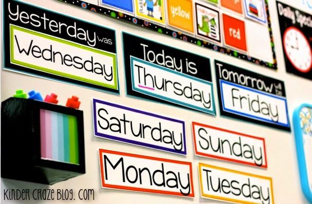 calendar days of the week classroom display