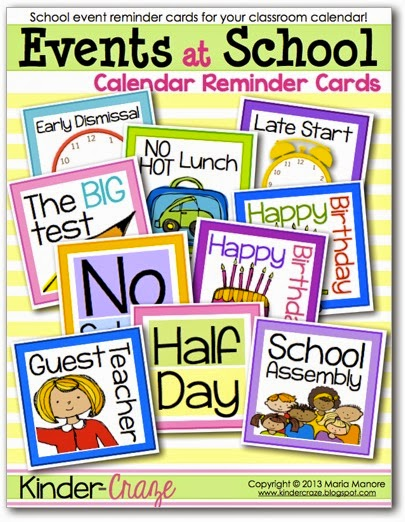 FREE cards to remind your students of upcoming special days on the classroom calendar