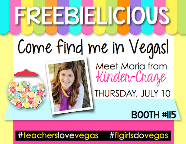visit the Freebielicious booth in Vegas and meet Maria Manore from Kinder-Craze!