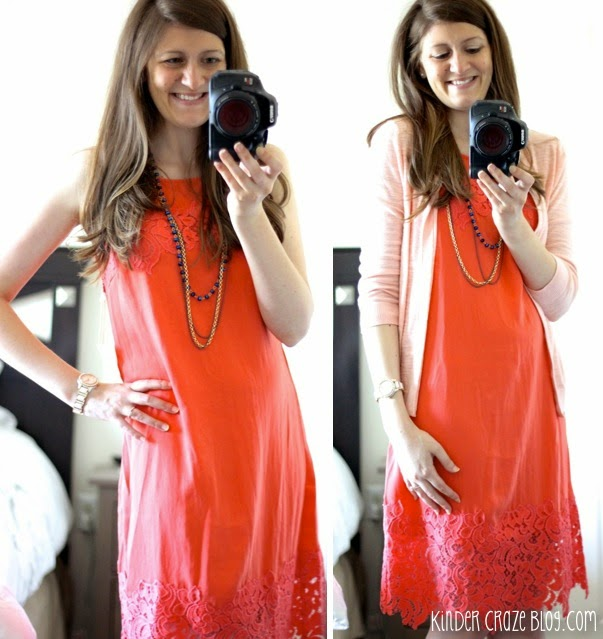 coral dress with lace from Stitch Fix