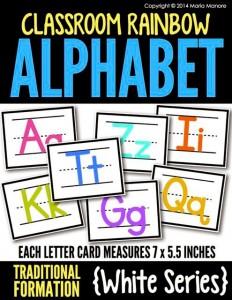 Classroom Rainbow Alphabet Traditional White Series