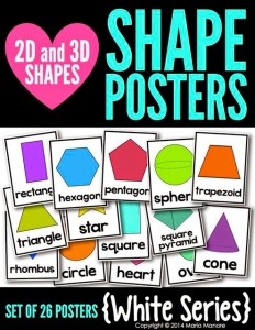 2D and 3D Shape Posters White Series