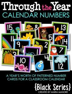 Year-Long Set of Calendar Numbers Black Series
