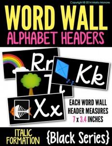 Word Wall Alphabet Headers Italics Black Series