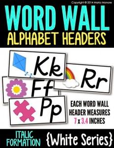 Word Wall Alphabet Headers Italics White Series