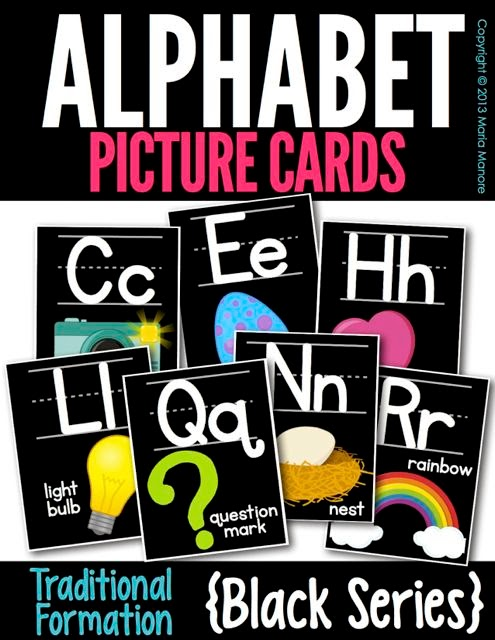 Alphabet Picture Cards black series