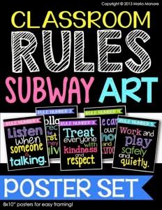 Classroom Rules Subway Art Poster Set Black Series