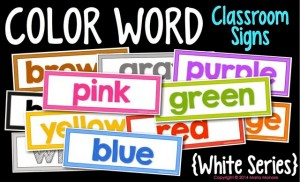 Color Word Classroom Signs White Series