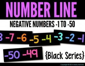 Negative Number Line -1 to -50 Black Series