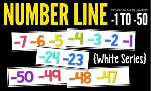 Negative Number Line -1 to -50 White Series