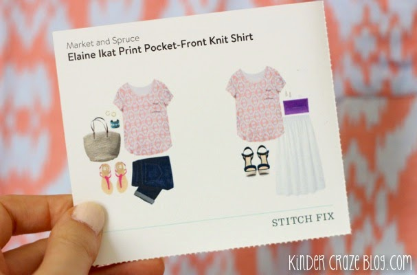 Stitch Fix Elaine Ikat Print Pocket Front Knit Shirt from Market and Spruce