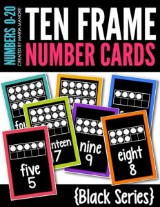 Ten Frame Number Cards Black Series
