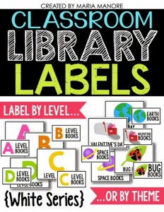 Classroom Library Labels White Series