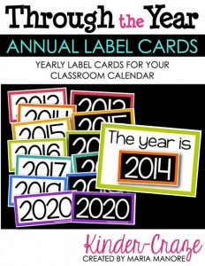 Yearly Label Cards for Classroom Calendar