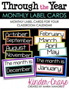 Monthly Label Cards for Classroom Calendar